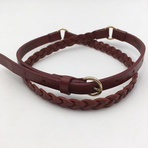 Lands End Skinny Leather Belt Braided Ring